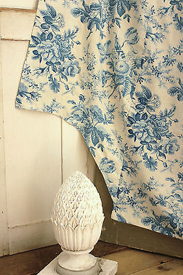 Antique French ruffled curtain Prussian  BLUE printed cotton bed curtain c1860 ~