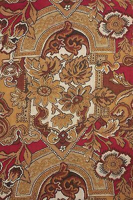 Antique French cretonne printed Gothic design fabric material c 1890 cotton ~