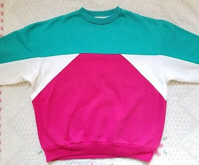 TOTALLY RAD VINTAGE 80's Color Block Sweatshirt Size S M Pink Turquoise