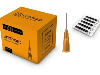 100x Orange 25g Hypodermic Needles 5/8 (short) 16mm CE Marked Discreet & Private