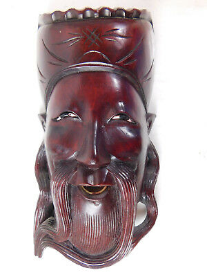Antique Wood Carved  Chinese Man Face Wall Mask