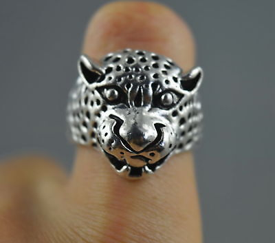 Collectable Decorative Handwork Old Miao Silver Carve Leopard Head Exorcism Ring