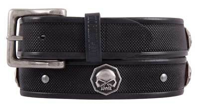 Harley-Davidson Men's Uncaged Skull Genuine Leather Belt, Black HDMBT11394-BLK
