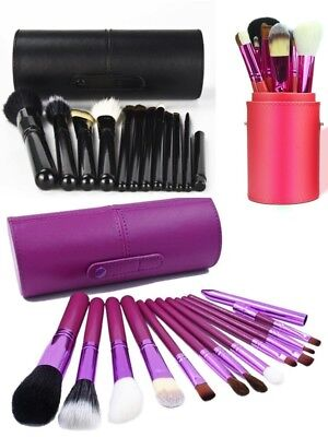 12 pcs Cosmetic Brush Kit Makeup Tool with Cup Leather Holder Case Travel Gift