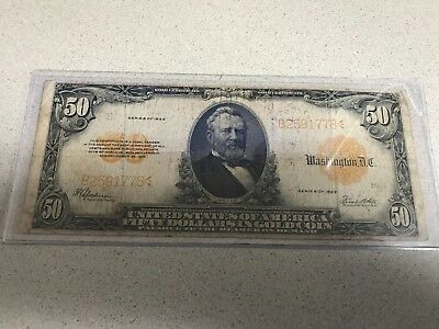1922 Series $50 Fifty Dollar Gold Coin Certificate Ulysses Grant F-1200 B19