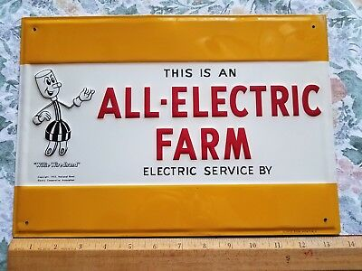 "Vintage 1955 Willie Wirehand All-Electric Farm Metal Sign 9 1/2""x 13 3/8""  NOS"
