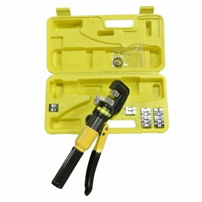 Hydraulic Wire Battery Cable Lug Terminal Crimper Crimping Tool w/ 9 Dies 10 TON
