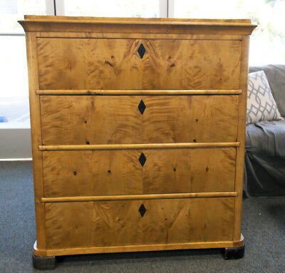 Antique Biedermeier Golden Honey Oak Dresser Chest Of Drawers Furniture