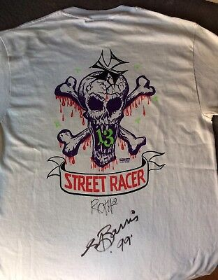 Rare Rat Fink Ed Roth & George Barris Autograph on never worn Street Racer shirt
