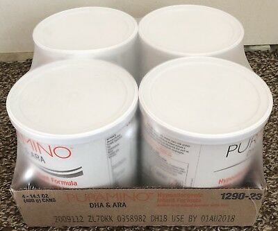 Puramino Hypoallergenic Baby Formula. Sealed case of 4 - 14.1oz cans.