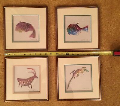 "BRUCKDORFER 8"" Sq.  Animals - copper - framed FISH LIZARD ANTELOPE 4 available"
