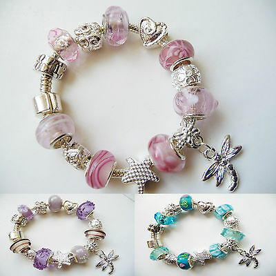 Child girls Silver Plated Charm Bracelet european style, Dragonfly Pink Purple..
