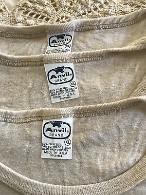 Lot of 3 Women's Vintage 70's Nude Color tee shirts Size XL