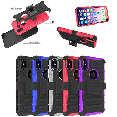 """For iPhone Xs X 5.8"""" Shockproof Hybrid Heavy Duty Case Cover+Belt Clip Holster"""