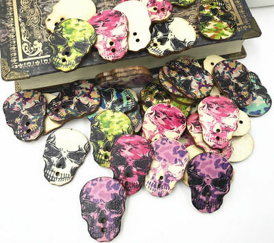 DIY Retro Wooden buttons Mixed Skeleton Head printing sewing scrapbooking 33mm