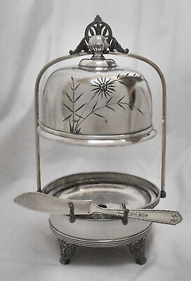 Atq AURORA S.P. Quad Slv Plate Cheese/Butter Server Stand w/Master Butter Knife