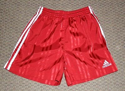 adidas Red Striped Pattern Shiny Satin Soccer Athletic Shorts Youth Size Medium