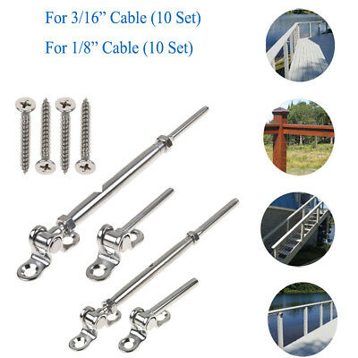 "10 Set T316 Steel Tensioner for Cable Railing w/Deck Toggle 3/16"" & 1/8"" Cable"