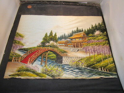 Vintage hand embroidered Oriental Mt.Fuji SILK tapestry Embroidered