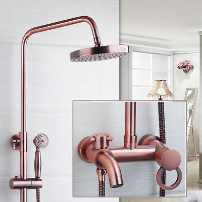 "Bathroom Antique Copper 8"" Shower Head Sink Tub Faucet Mixer Taps Wall Mount"