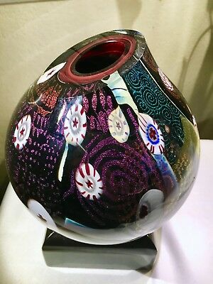 Peter Vanderlaan Dichroic Art Glass Vase Signed