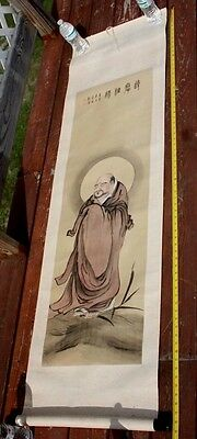 ANTIQUE JAPANESE CHINESE Scroll PAINTING BUDDHA SIGNED