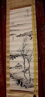 ANTIQUE JAPANESE CHINESE Scroll PAINTING SIGNED HUT TREES