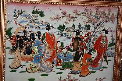Antique Chinese Large Porcelain Tile Painting Framed