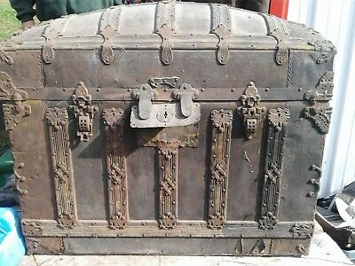 Beautifully Detailed Antique Steamer Trunk Dome Top