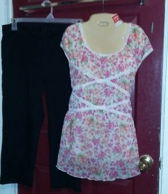 Lot 2 ♡♡ Floral Top & Blk Bottoms ~~Lg ..maternity ...very Nice-Clean