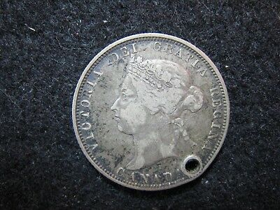 """1882 H Canada Silver Quarter 25c Circulated, nice details """"Holed"""""""