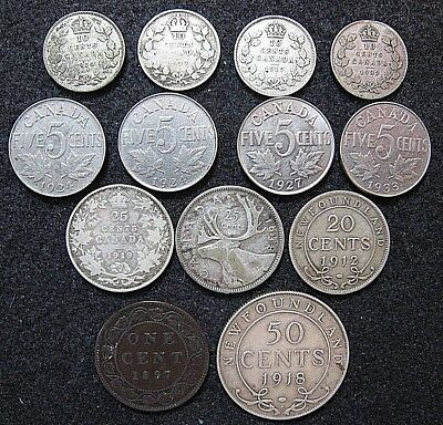 Lot of  Older Canada & Newfoundland Circulated Coinage, Silver Nickel & Copper