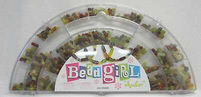 New Bead Girl Brown & Amber Tones Beading Kit with Glass Beads Thread Carry Case