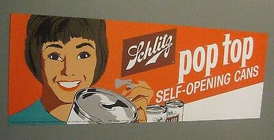 24 inch 1963 <Dated> Schlitz Orig. Lithograph Sign Pop Pull Zip Top Beer Can