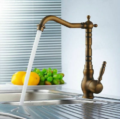 AS Antique Brass Bathroom Basin Sink Swivel Tall Faucet Mixer Taps 1 Hole/Lever