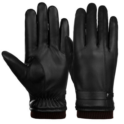New Men Leather Warm Thick Fleece Lining Gloves Cycling Ski Touch Screen Mittens
