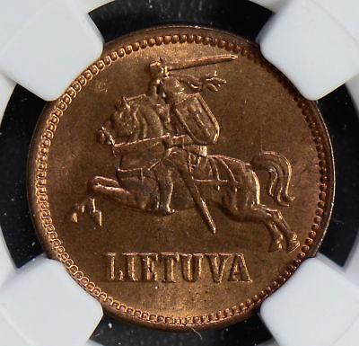 NG0492 Lithuania 1936 5 Cents NGC MS65RB rare in this grade combine shipping