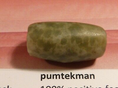 ANCIENT PRE-COLUMBIAN MESOAMER.PERFECT GREEN JADE BEAD 20 BY 10.6 MM pumtekman