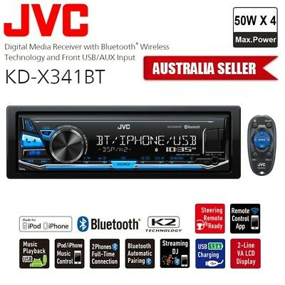 JVC KD-X341BT Bluetooth iPhone USB AUX Car Stereo Radio Headunit FLAC No CD