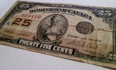 1923 Dominion Of Canada, 25 Cents Note, Shinplaster