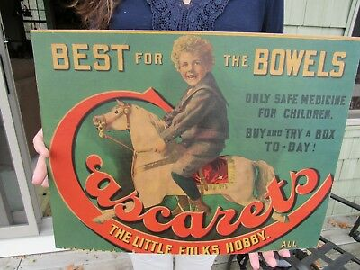 ORGINAL 1894 1920's CASCARETS CANDY CATHARTIC DRUG STORE ADVERTISING SIGN