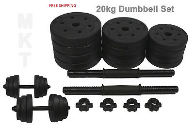 20kg Dumbbell Dumbell Set  Gym Free Weights Training Biceps Barbell Triceps