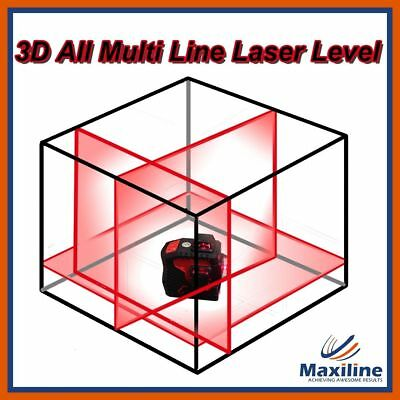 New 3 x 360 Self Leveling Multiline Cross Line Laser Level w Receiver Carry Case