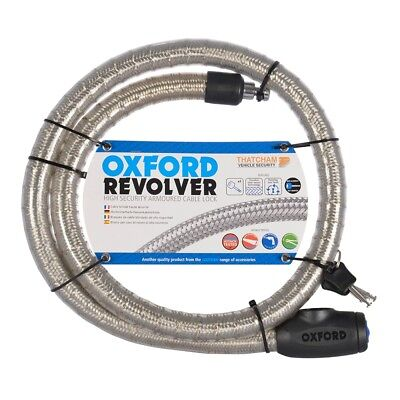 OXFORD Revolver 1.4m -Silver - Armoured Cabel Lock Bike/Motorbike - Security