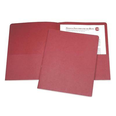"Skilcraft Double Pocket Portfolio 3/8"" Exp. Letter 25/BX Red 5122415"