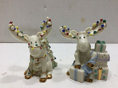 Lenox Christmas Merry Moose Salt and Pepper Shakers