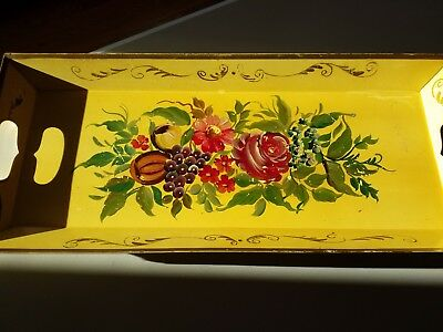 Antique Hand Painted Fruit & Flowers Soft Yellow Long Narrow Tole Tray
