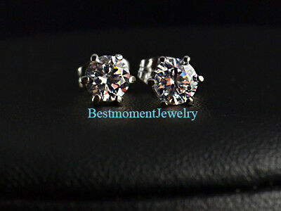 18K White gold 2 ct Round cut Diamond 6 prong solitaire stud earring FREE PP