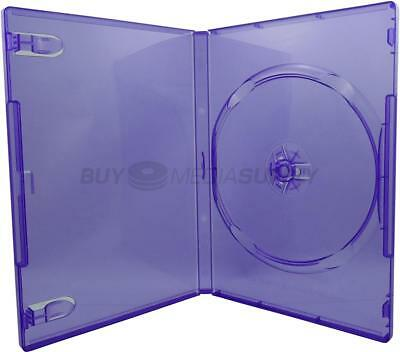 14mm Standard Clear Purple 1 Disc DVD Case - 8 Piece