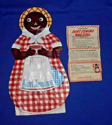 Aunt Jemima Oil Cloth Rag Doll With Instructions Never Used 1948 Black Americana